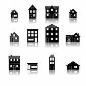 Modern trendy retro house street flat icons set vector illustration