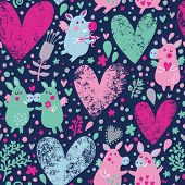 Romantic background with funny pigs, flowers and hearts in vector. Seamless pattern