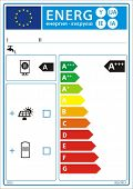Water heater and solar device new energy rating graph label in vector.