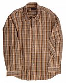Man's brown cotton plaid shirt