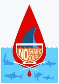 Stop Shark Fin Soup.vector Color Poster