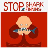 Vector Symbol Poster With Man Eating Shark