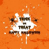 Grunge style Halloween background with spiders