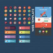 Flat web graphics + web template