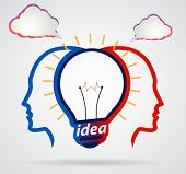 Thinking Head With Speech Clouds, Unity Of Thought, A New Idea,partnership