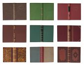 Collection of book covers with spine isolated on a white background