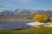 Beautiful Scenic Autumn Rocky Mountain Lake Scene