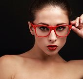 Beautiful Sexy Woman In Red Glasses Looking With Bright Red Lipstick