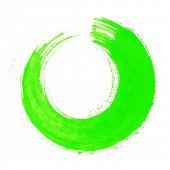 Round green brush stroke