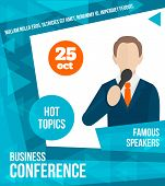 stock photo of public speaking  - Public speaking business conference famous speaker person poster vector illustration - JPG