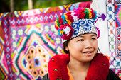 Yao Tribe Woman In Traditional Clothes. Thailand
