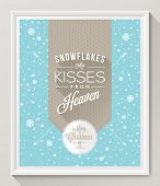 Knitted pattern with type design against a snowfall background - Christmas quote poster in white fra