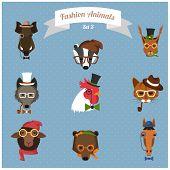 Fashion Hipster Animals set 3