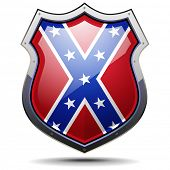picture of confederate flag  - detailed illustration of a coat of arms with confederate flag - JPG
