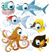 foto of jellyfish  - vector cartoon sea animal set - JPG