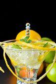Mojito cocktail with fresh lemon