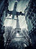 View of the Eiffel tower in Paris. Paris beautiful destinations in Europe