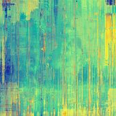 Vintage, textured background with grunge elements. With yellow, green, blue patterns