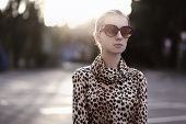 Fashion Lifestyle Portrait Woman In Sunglasses And Dress With Leopard Print