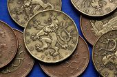 Coins of the Czech Republic. Bohemian heraldic lion depicted in Czech twenty korunas coins.