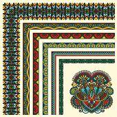 collection of ornamental floral vintage frame design. All compon