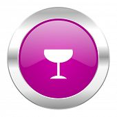 alcohol  violet circle chrome web icon isolated