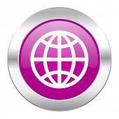 earth violet circle chrome web icon isolated