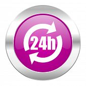 24h violet circle chrome web icon isolated