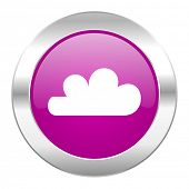 cloud violet circle chrome web icon isolated