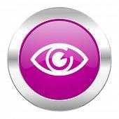 eye violet circle chrome web icon isolated