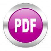 pdf violet circle chrome web icon isolated