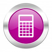 calculator violet circle chrome web icon isolated