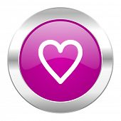 heart violet circle chrome web icon isolated