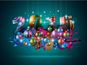 2015 Christmas Colorful Background with a waterfall of ray lights and a lot of baubles and stars.