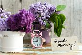 Two Tone Lilac Flowers With Good Morning Note