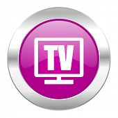 tv violet circle chrome web icon isolated