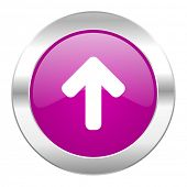 up arrow violet circle chrome web icon isolated