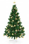 3D Illustration Decorated classic christmas tree with star isolated on white
