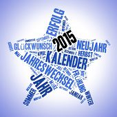Blue star with 2015 concept illustration as a tag cloud
