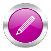 pencil violet circle chrome web icon isolated