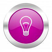 bulb violet circle chrome web icon isolated