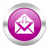 email violet circle chrome web icon isolated