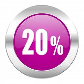 20 percent violet circle chrome web icon isolated