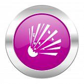 bomb violet circle chrome web icon isolated