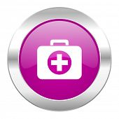 first aid violet circle chrome web icon isolated