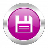 disk violet circle chrome web icon isolated