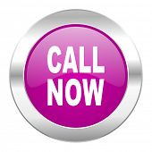 call now violet circle chrome web icon isolated