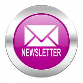 newsletter violet circle chrome web icon isolated