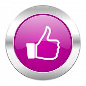 thumbs up violet circle chrome web icon isolated