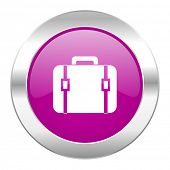 bag violet circle chrome web icon isolated